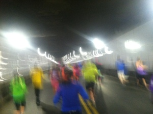 People running through the tunnel during the Detroit Marathon in 2012.