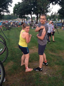 My brother and I preparing for our first triathlon last summer. I beat him on the swim! He beat me on the bike and run. Might be the only time I beat him at an athletic activity so I need to use it as often as possible.