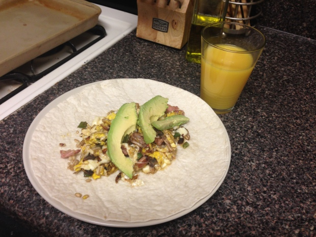 Shallots + jalapeño + mushroom + prosciutto + mozzarella + eggs + sour cream + avocado + big tortilla = delicious.