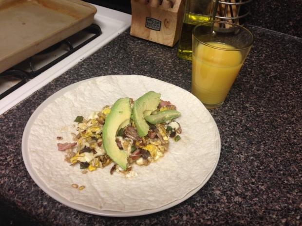 Shallots + jalapeño + mushroom + prosciutto + mozzarella + eggs + sour cream + avocado + big tortilla = delicious.